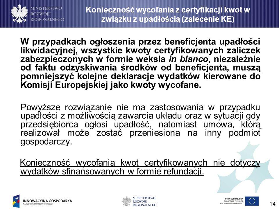 14 W przypadkach ogłoszenia przez beneficjenta upadłości likwidacyjnej, wszystkie kwoty certyfikowanych zaliczek zabezpieczonych w formie weksla in bl