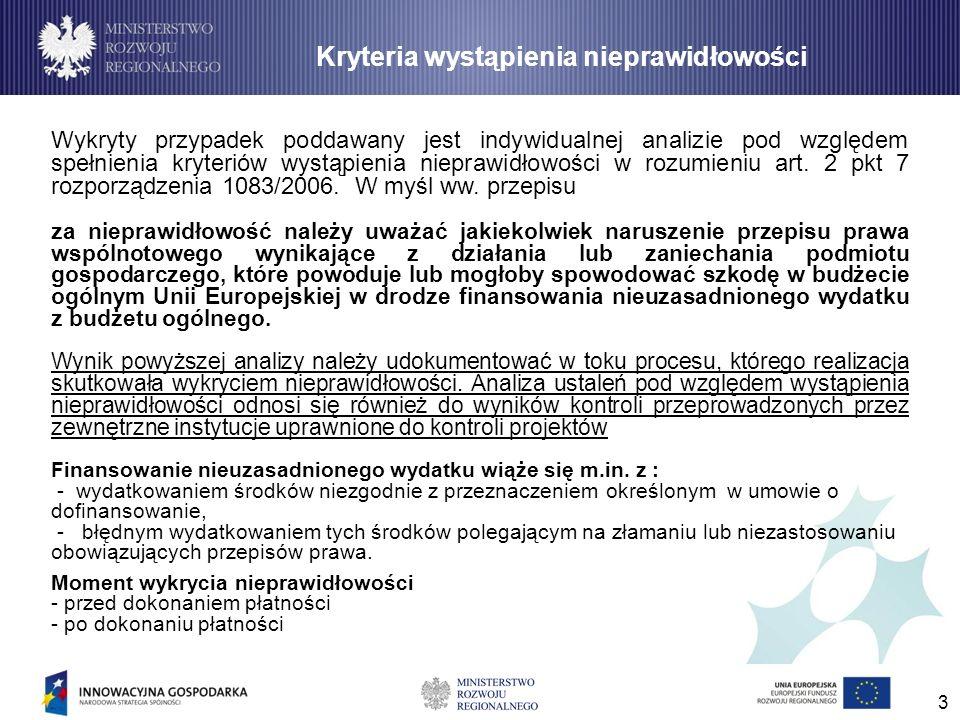 3 Wykryty przypadek poddawany jest indywidualnej analizie pod względem spełnienia kryteriów wystąpienia nieprawidłowości w rozumieniu art. 2 pkt 7 roz