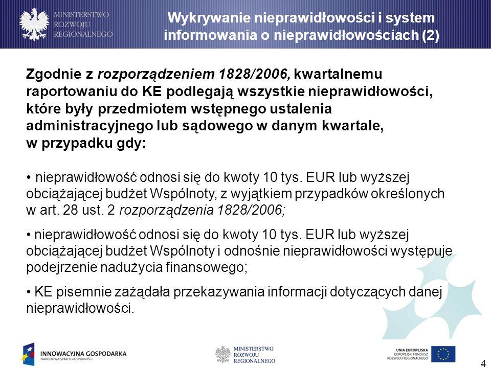 4 Zgodnie z rozporządzeniem 1828/2006, kwartalnemu raportowaniu do KE podlegają wszystkie nieprawidłowości, które były przedmiotem wstępnego ustalenia
