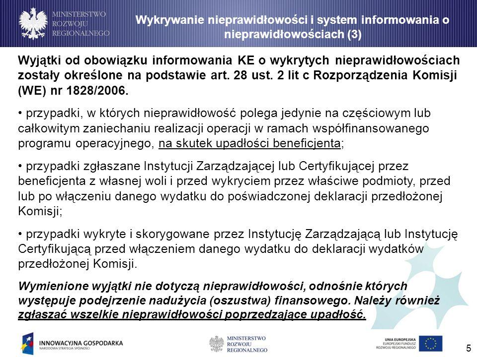 5 Wyjątki od obowiązku informowania KE o wykrytych nieprawidłowościach zostały określone na podstawie art. 28 ust. 2 lit c Rozporządzenia Komisji (WE)