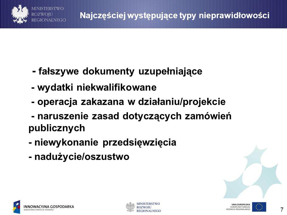 7 - fałszywe dokumenty uzupełniające - wydatki niekwalifikowane - operacja zakazana w działaniu/projekcie - naruszenie zasad dotyczących zamówień publ