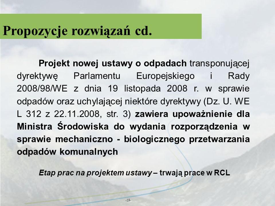 Propozycje rozwiązań cd. -19- Projekt nowej ustawy o odpadach transponującej dyrektywę Parlamentu Europejskiego i Rady 2008/98/WE z dnia 19 listopada