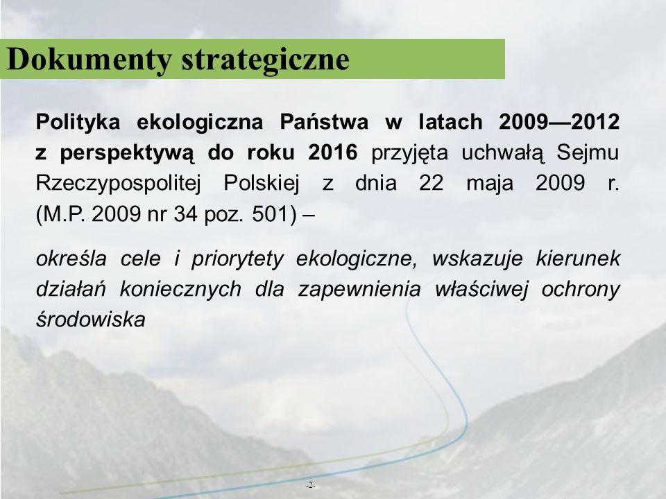 Dokumenty strategiczne -2- Polityka ekologiczna Państwa w latach 20092012 z perspektywą do roku 2016 przyjęta uchwałą Sejmu Rzeczypospolitej Polskiej