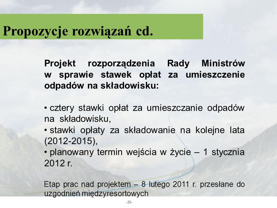 Propozycje rozwiązań cd. -20- Projekt rozporządzenia Rady Ministrów w sprawie stawek opłat za umieszczenie odpadów na składowisku: cztery stawki opłat