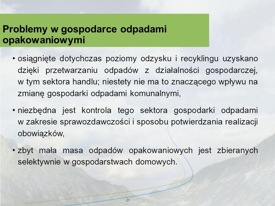Problemy w gospodarce odpadami opakowaniowymi -21- osiągnięte dotychczas poziomy odzysku i recyklingu uzyskano dzięki przetwarzaniu odpadów z działaln