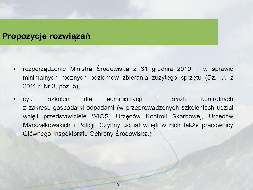 Propozycje rozwiązań -26- rozporządzenie Ministra Środowiska z 31 grudnia 2010 r. w sprawie minimalnych rocznych poziomów zbierania zużytego sprzętu (