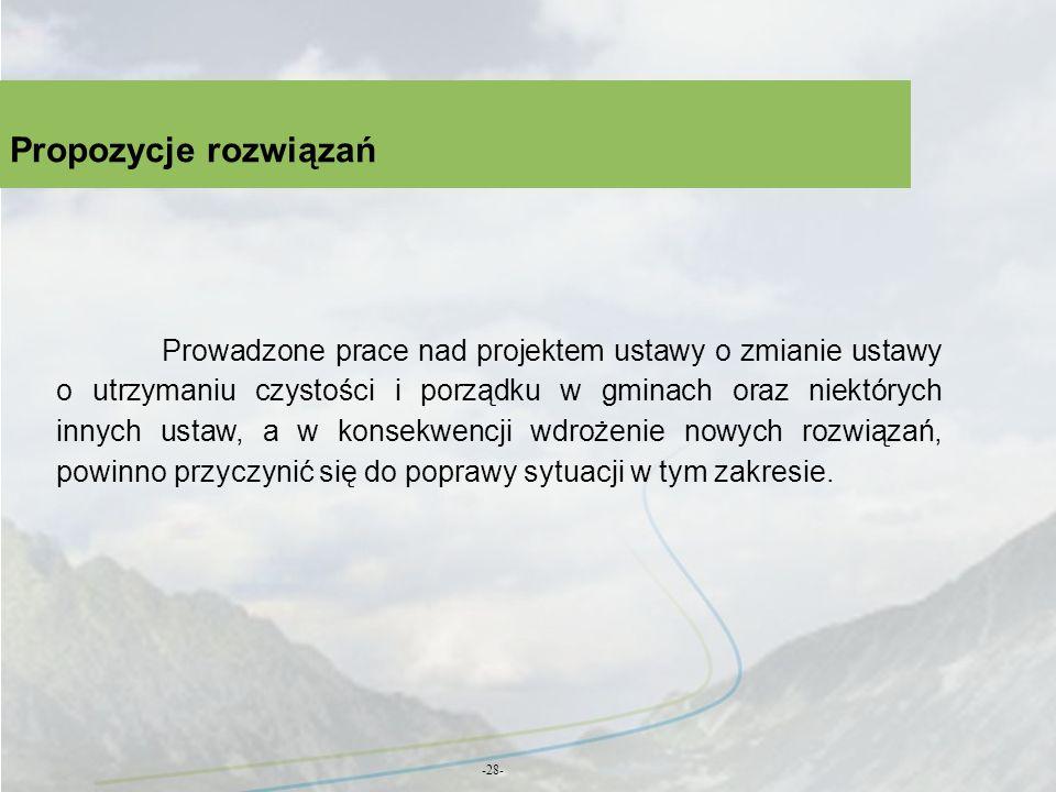 Propozycje rozwiązań -28- Prowadzone prace nad projektem ustawy o zmianie ustawy o utrzymaniu czystości i porządku w gminach oraz niektórych innych us