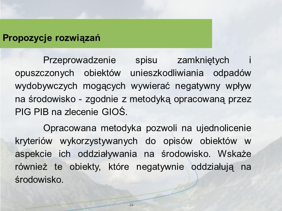 Propozycje rozwiązań -34- Przeprowadzenie spisu zamkniętych i opuszczonych obiektów unieszkodliwiania odpadów wydobywczych mogących wywierać negatywny
