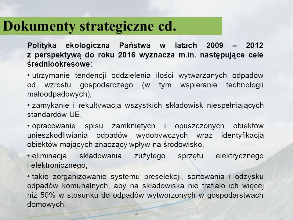Dokumenty strategiczne cd. -4- Polityka ekologiczna Państwa w latach 2009 – 2012 z perspektywą do roku 2016 wyznacza m.in. następujące cele średniookr