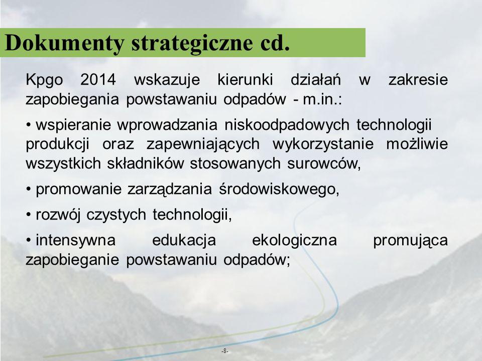 Dokumenty strategiczne cd. -8- Kpgo 2014 wskazuje kierunki działań w zakresie zapobiegania powstawaniu odpadów - m.in.: wspieranie wprowadzania niskoo