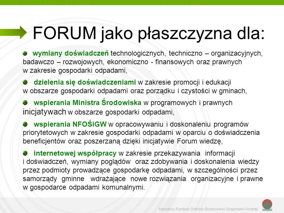 Narodowy Fundusz Ochrony Środowiska i Gospodarki Wodnej Założenia organizacyjno – realizacyjne Projektu: Spotkania (plenarne) Forum, na których wybraną (określoną) tematykę przedstawia dwóch wykładowców (ekspertów).