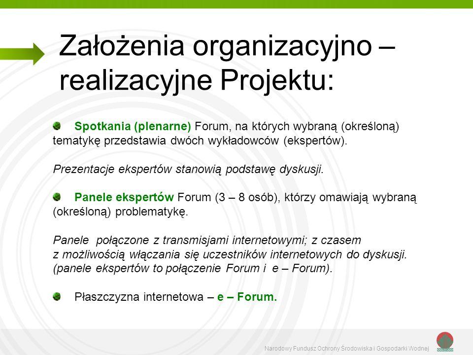 Narodowy Fundusz Ochrony Środowiska i Gospodarki Wodnej Założenia organizacyjno – realizacyjne Projektu: Spotkania (plenarne) Forum, na których wybran