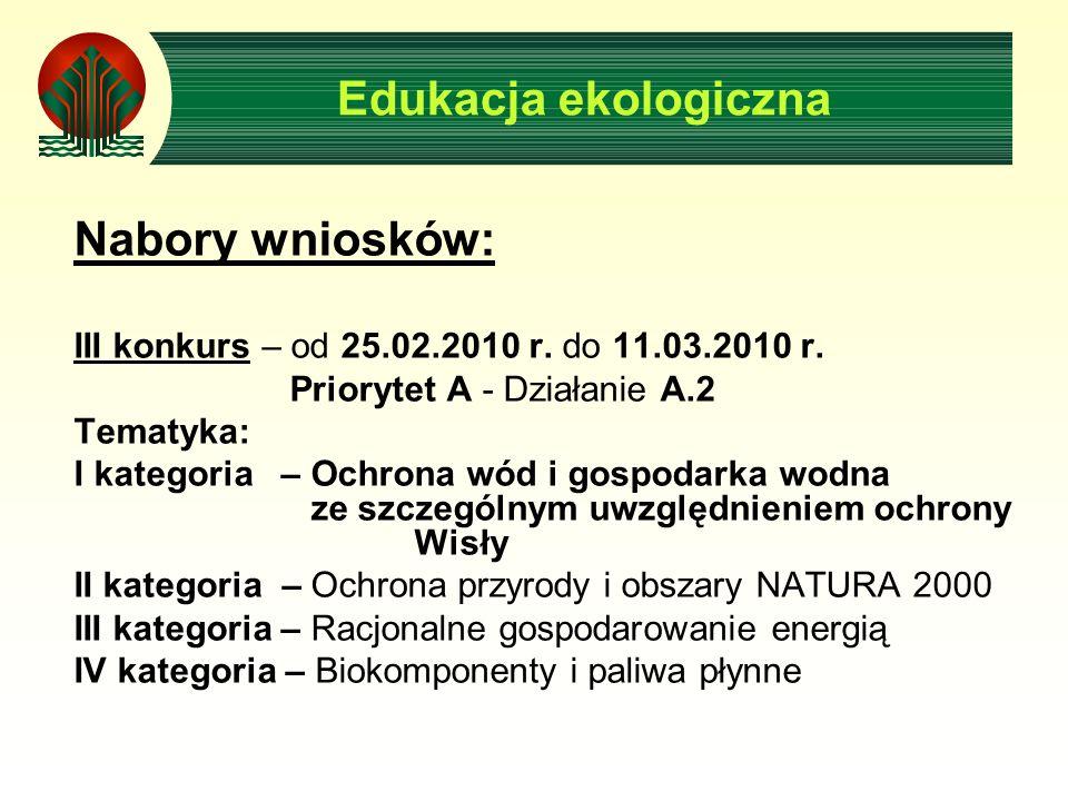 Nabory wniosków: III konkurs – od 25.02.2010 r. do 11.03.2010 r. Priorytet A - Działanie A.2 Tematyka: I kategoria – Ochrona wód i gospodarka wodna ze