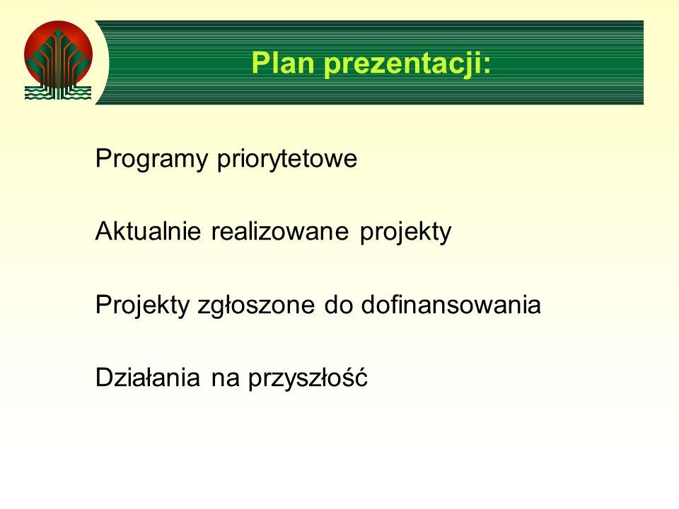 Plan prezentacji: Programy priorytetowe Aktualnie realizowane projekty Projekty zgłoszone do dofinansowania Działania na przyszłość