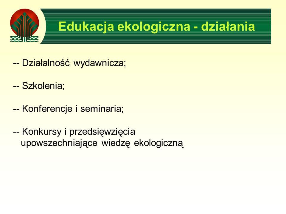 Edukacja ekologiczna - działania -- Działalność wydawnicza; -- Szkolenia; -- Konferencje i seminaria; -- Konkursy i przedsięwzięcia upowszechniające w