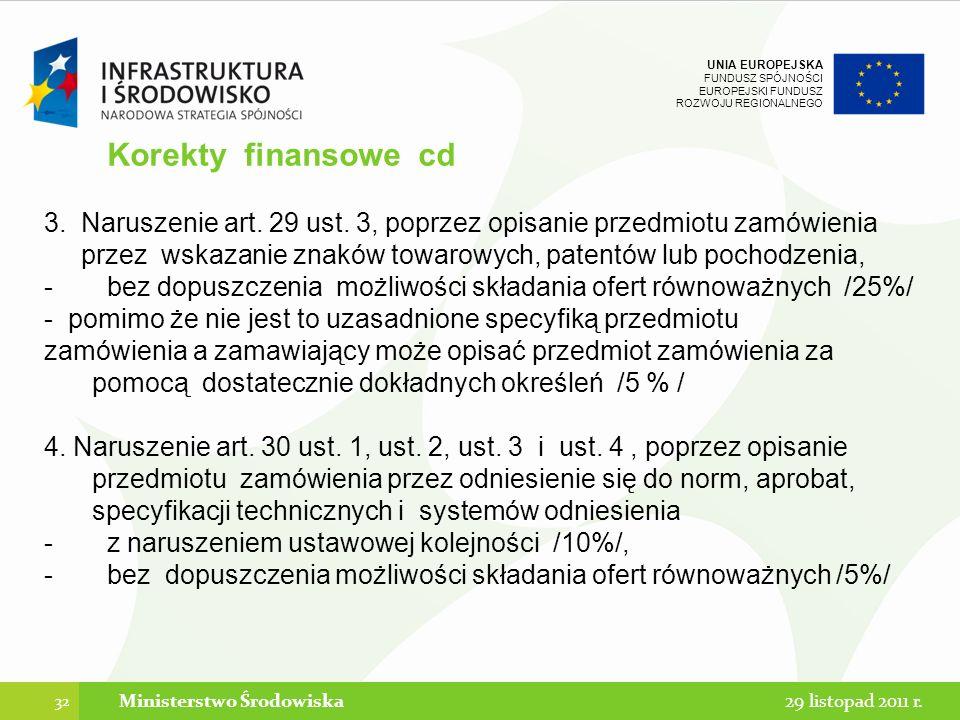 UNIA EUROPEJSKA FUNDUSZ SPÓJNOŚCI EUROPEJSKI FUNDUSZ ROZWOJU REGIONALNEGO Korekty finansowe cd 3. Naruszenie art. 29 ust. 3, poprzez opisanie przedmio