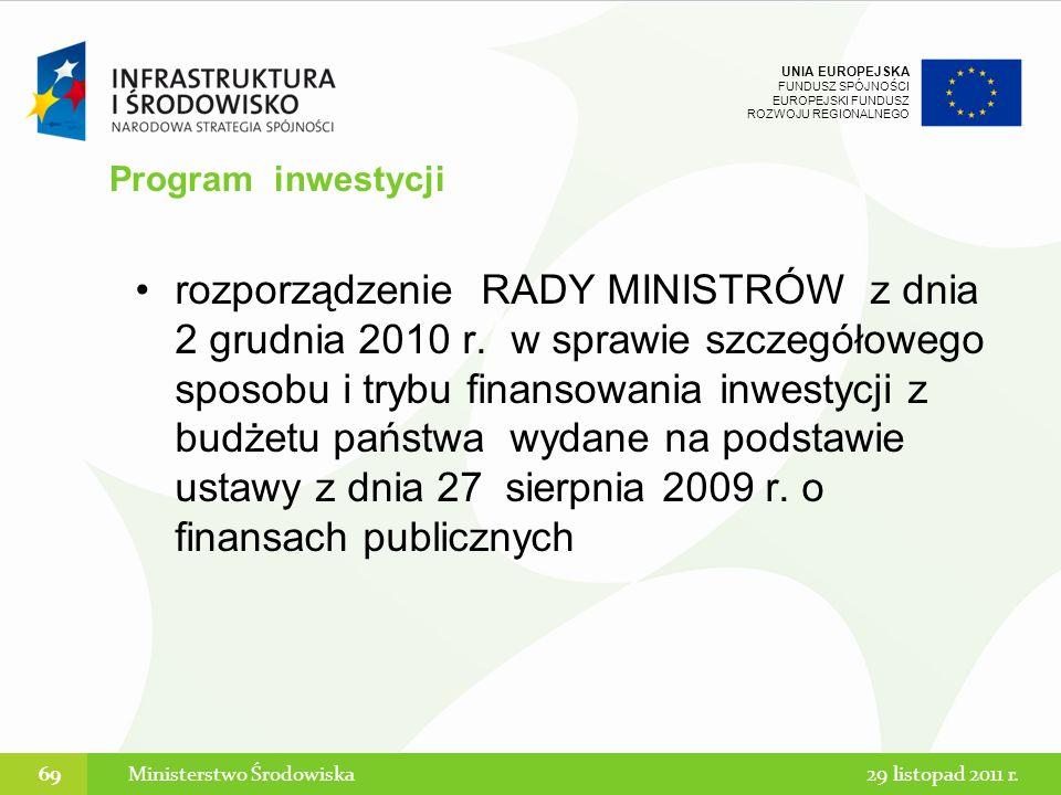 UNIA EUROPEJSKA FUNDUSZ SPÓJNOŚCI EUROPEJSKI FUNDUSZ ROZWOJU REGIONALNEGO rozporządzenie RADY MINISTRÓW z dnia 2 grudnia 2010 r. w sprawie szczegółowe