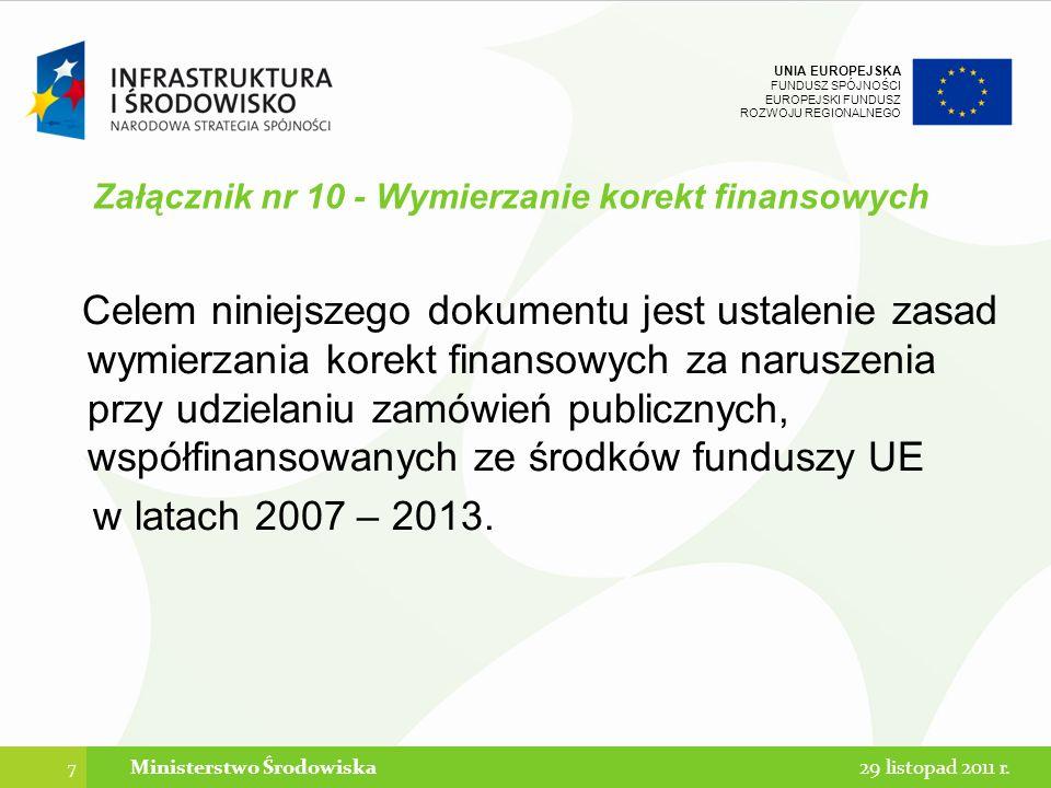 UNIA EUROPEJSKA FUNDUSZ SPÓJNOŚCI EUROPEJSKI FUNDUSZ ROZWOJU REGIONALNEGO Załącznik nr 10 - Wymierzanie korekt finansowych UWAGA: nie wszystkie naruszenia ustawy skutkują wymierzeniem korekty finansowej Nieprawidłowości będące następstwem naruszeń przepisów Pzp, które nie służą wdrożeniu prawa wspólnotowego, nie stanowią co do zasady podstawy do wymierzenia korekty finansowej.