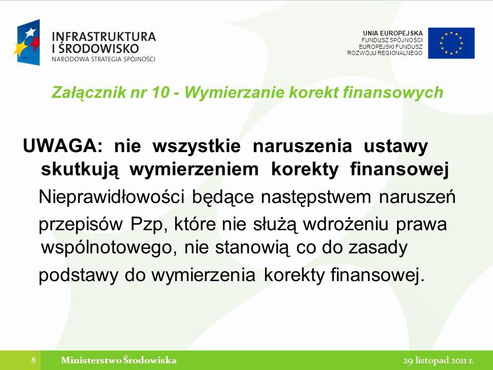 UNIA EUROPEJSKA FUNDUSZ SPÓJNOŚCI EUROPEJSKI FUNDUSZ ROZWOJU REGIONALNEGO Załącznik nr 10 - Wymierzanie korekt finansowych UWAGA: nie wszystkie narusz