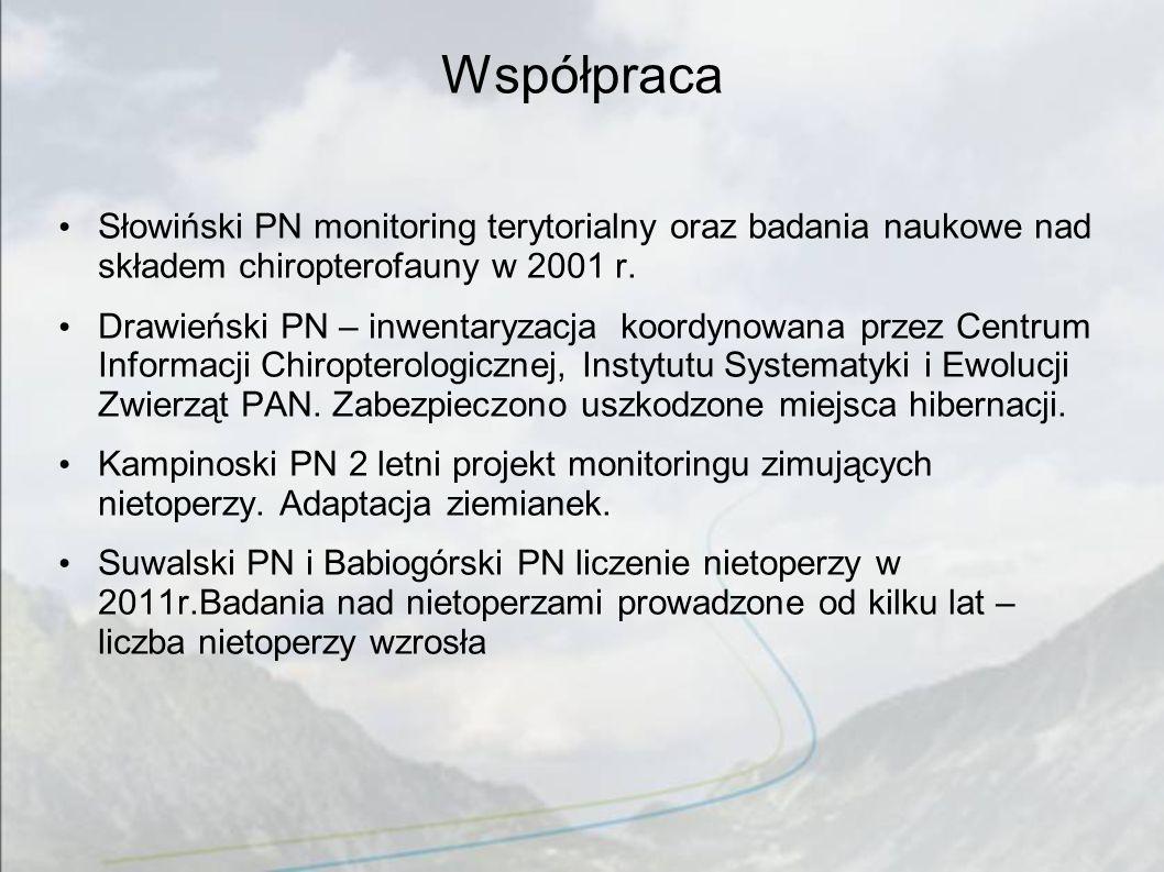 Współpraca Słowiński PN monitoring terytorialny oraz badania naukowe nad składem chiropterofauny w 2001 r. Drawieński PN – inwentaryzacja koordynowana