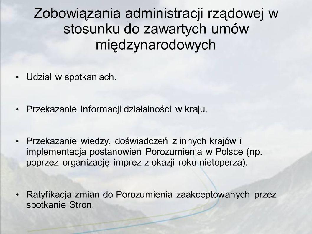 Zobowiązania administracji rządowej w stosunku do zawartych umów międzynarodowych Udział w spotkaniach. Przekazanie informacji działalności w kraju. P