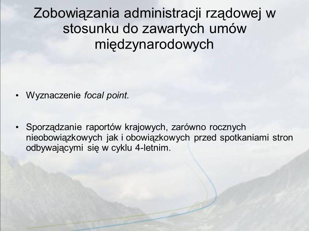 Zobowiązania administracji rządowej w stosunku do zawartych umów międzynarodowych Wyznaczenie focal point. Sporządzanie raportów krajowych, zarówno ro
