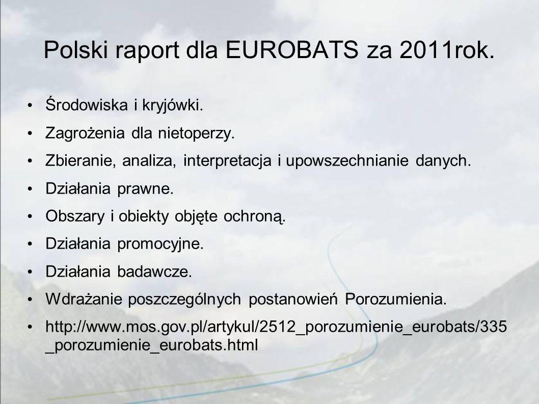 Polski raport dla EUROBATS za 2011rok. Środowiska i kryjówki. Zagrożenia dla nietoperzy. Zbieranie, analiza, interpretacja i upowszechnianie danych. D