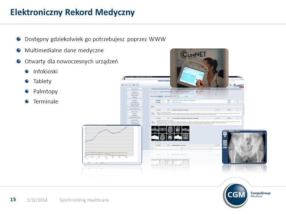 Elektroniczny Rekord Medyczny 1/12/2014Synchronizing Healthcare 15 Dostępny gdziekolwiek go potrzebujesz poprzez WWW Multimedialne dane medyczne Otwar