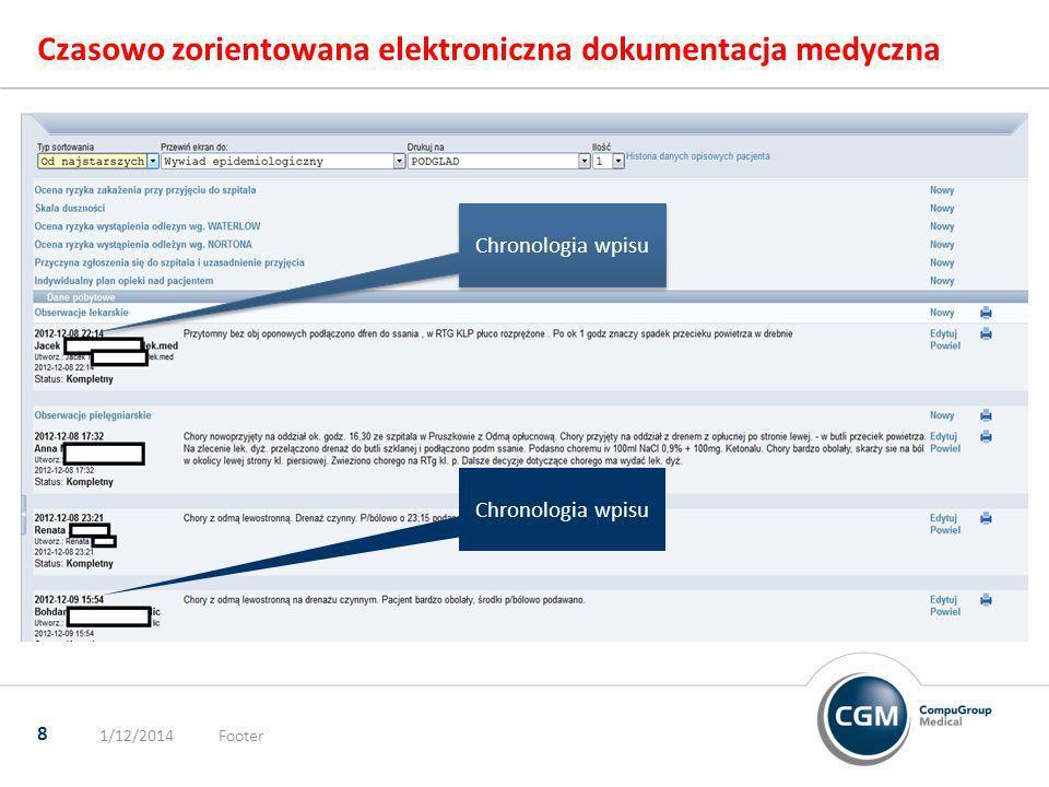 Czasowo zorientowana elektroniczna dokumentacja medyczna 1/12/2014Footer 8 Chronologia wpisu