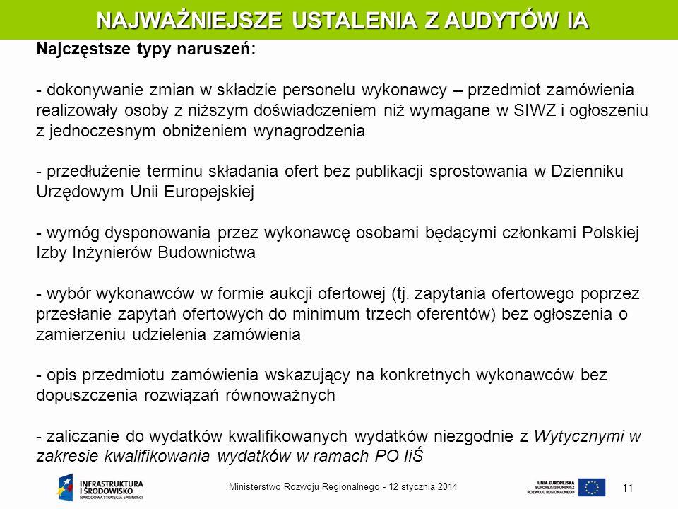 12 stycznia 2014Ministerstwo Rozwoju Regionalnego - 11 NAJWAŻNIEJSZE USTALENIA Z AUDYTÓW IA NAJWAŻNIEJSZE USTALENIA Z AUDYTÓW IA Najczęstsze typy naru