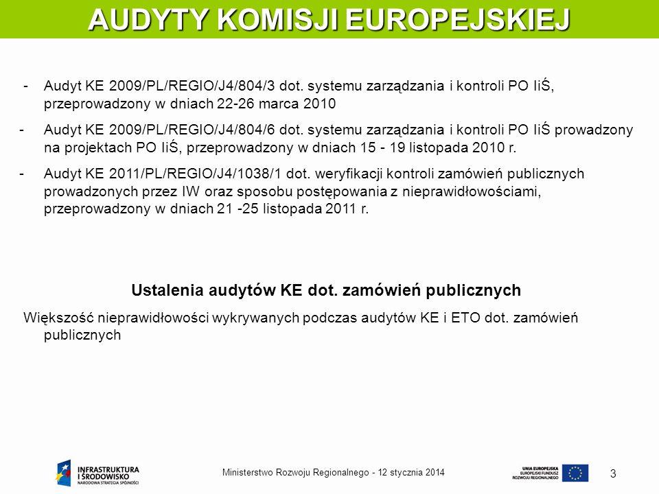 12 stycznia 2014Ministerstwo Rozwoju Regionalnego - 3 AUDYTY KOMISJI EUROPEJSKIEJ -Audyt KE 2009/PL/REGIO/J4/804/3 dot. systemu zarządzania i kontroli