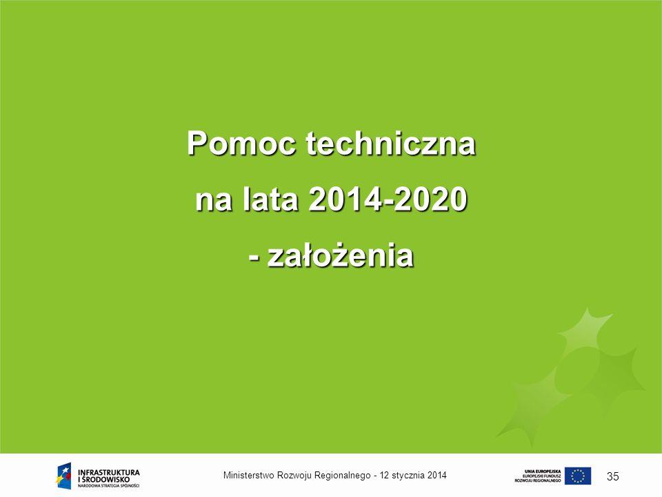 12 stycznia 2014Ministerstwo Rozwoju Regionalnego - 35 Pomoc techniczna na lata 2014-2020 - założenia