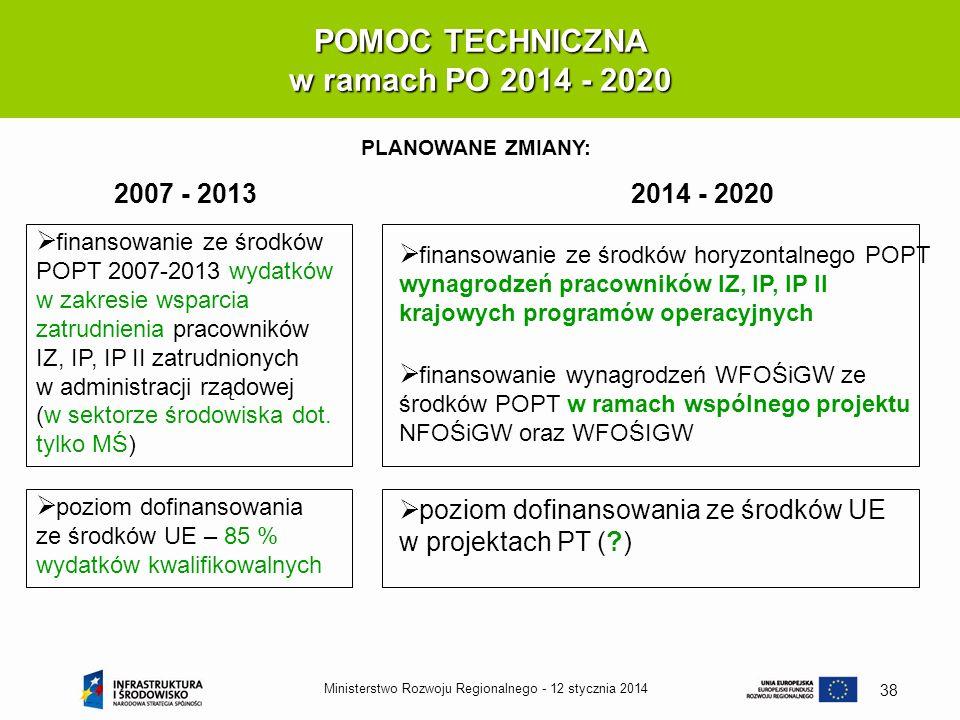12 stycznia 2014Ministerstwo Rozwoju Regionalnego - 38 POMOC TECHNICZNA w ramach PO 2014 - 2020 PLANOWANE ZMIANY: finansowanie ze środków POPT 2007-20