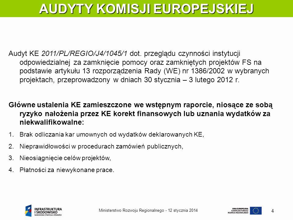 12 stycznia 2014Ministerstwo Rozwoju Regionalnego - 4 AUDYTY KOMISJI EUROPEJSKIEJ Audyt KE 2011/PL/REGIO/J4/1045/1 dot. przeglądu czynności instytucji