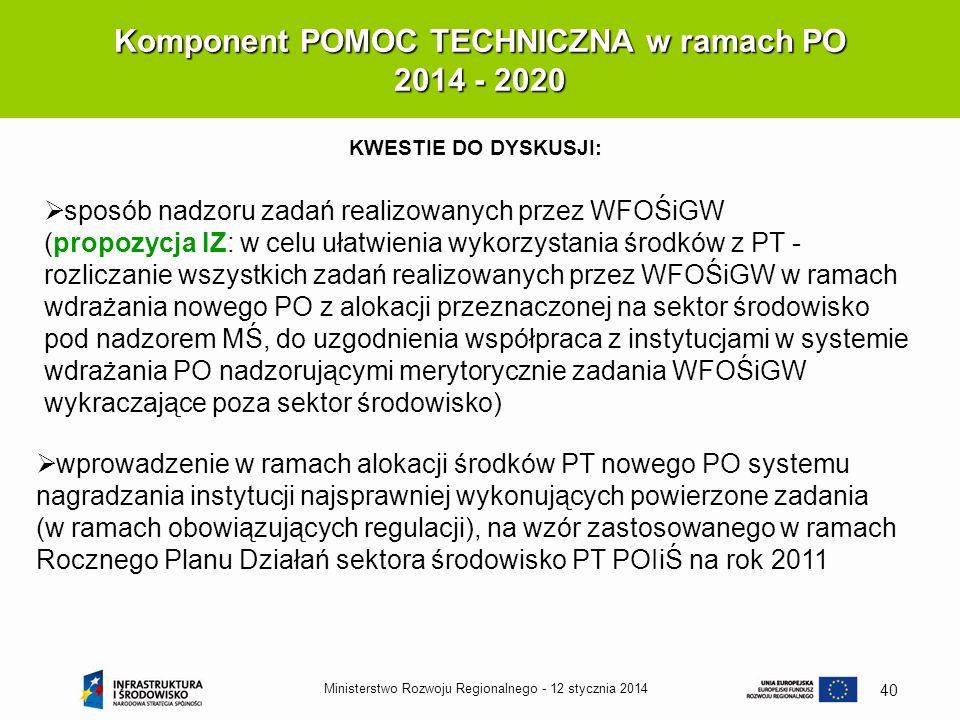12 stycznia 2014Ministerstwo Rozwoju Regionalnego - 40 Komponent POMOC TECHNICZNA w ramach PO 2014 - 2020 KWESTIE DO DYSKUSJI: sposób nadzoru zadań re