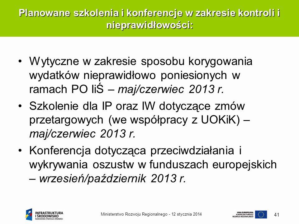 12 stycznia 2014Ministerstwo Rozwoju Regionalnego - 41 Wytyczne w zakresie sposobu korygowania wydatków nieprawidłowo poniesionych w ramach PO IiŚ – m