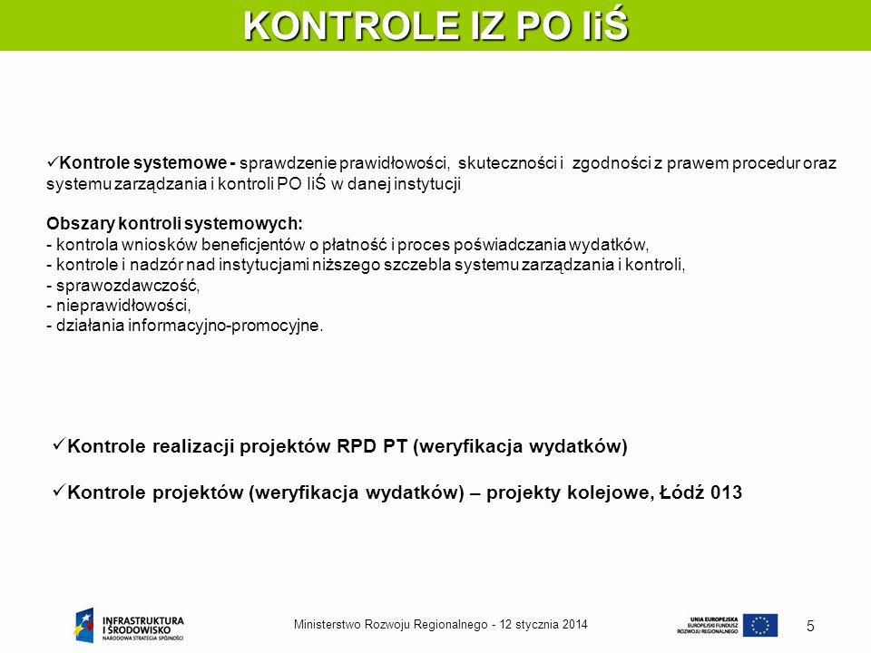12 stycznia 2014Ministerstwo Rozwoju Regionalnego - 5 KONTROLE IZ PO IiŚ Kontrole systemowe - sprawdzenie prawidłowości, skuteczności i zgodności z pr
