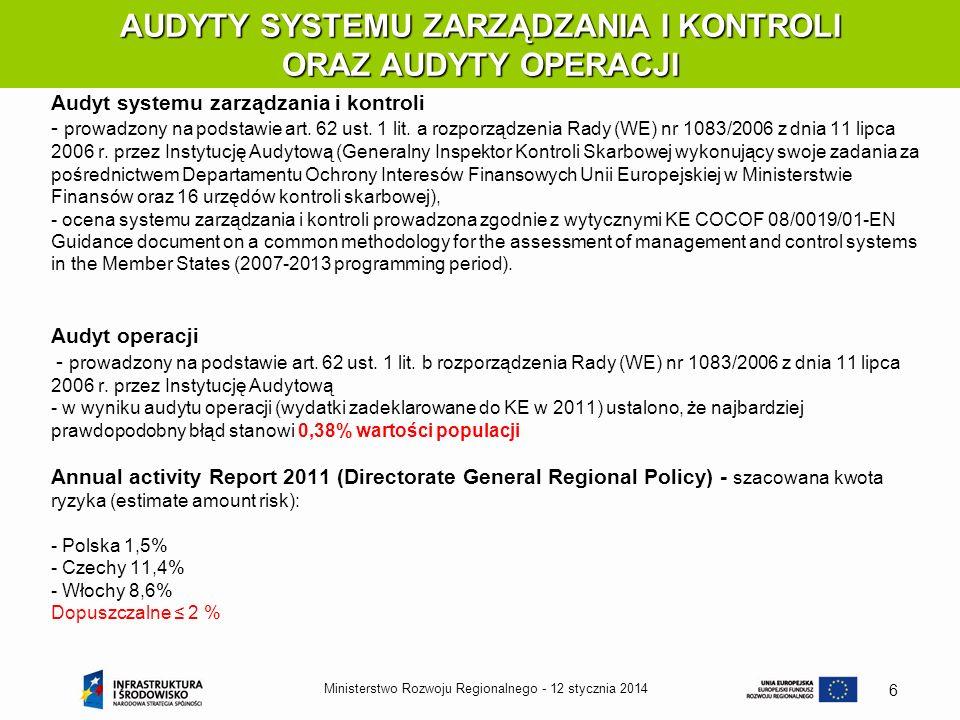 12 stycznia 2014Ministerstwo Rozwoju Regionalnego - 6 AUDYTY SYSTEMU ZARZĄDZANIA I KONTROLI ORAZ AUDYTY OPERACJI Audyt systemu zarządzania i kontroli