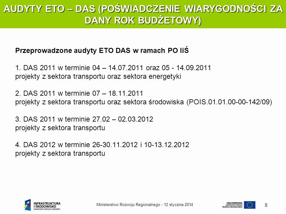 12 stycznia 2014Ministerstwo Rozwoju Regionalnego - 8 AUDYTY ETO – DAS (POŚWIADCZENIE WIARYGODNOŚCI ZA DANY ROK BUDŻETOWY) Przeprowadzone audyty ETO D