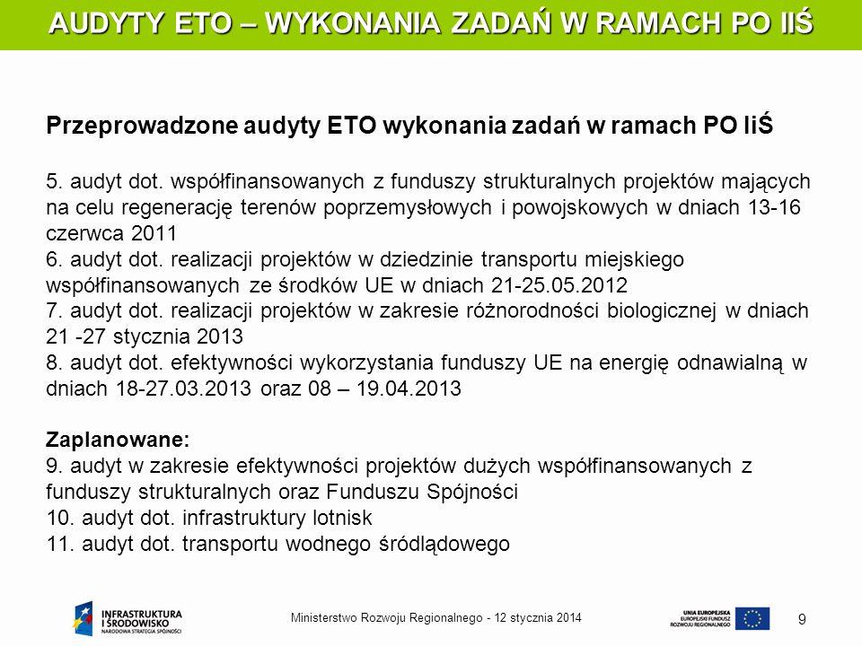 12 stycznia 2014Ministerstwo Rozwoju Regionalnego - 9 AUDYTY ETO – WYKONANIA ZADAŃ W RAMACH PO IIŚ AUDYTY ETO – WYKONANIA ZADAŃ W RAMACH PO IIŚ Przepr