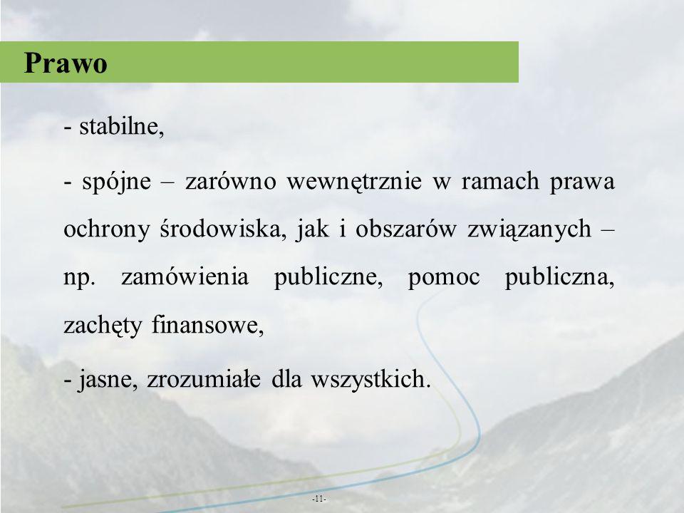 Prawo -11- - stabilne, - spójne – zarówno wewnętrznie w ramach prawa ochrony środowiska, jak i obszarów związanych – np. zamówienia publiczne, pomoc p
