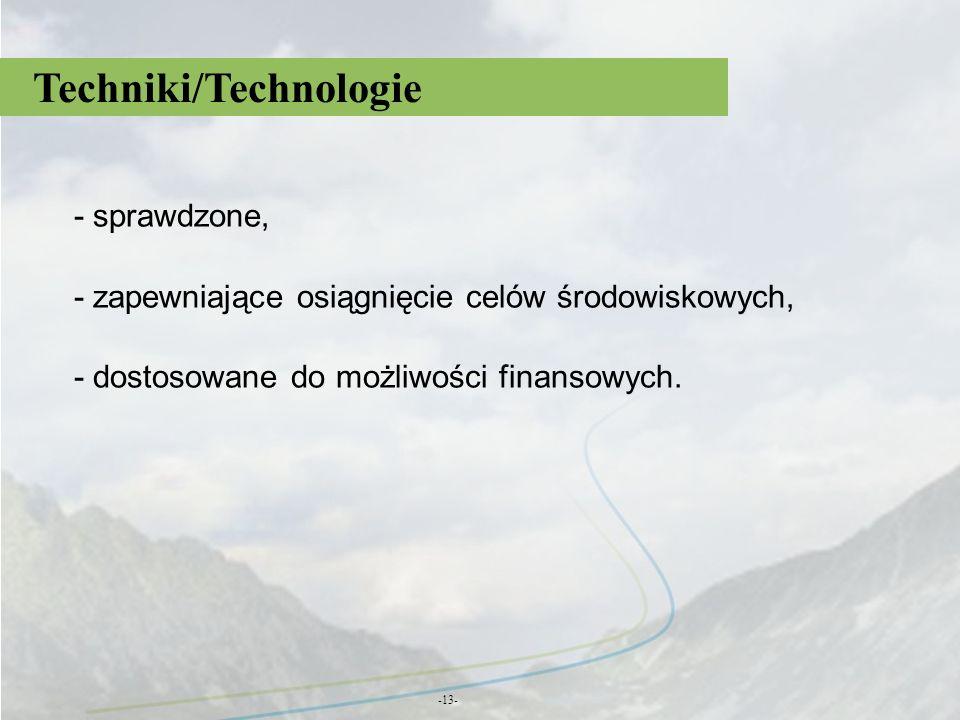 Techniki/Technologie -13- - sprawdzone, - zapewniające osiągnięcie celów środowiskowych, - dostosowane do możliwości finansowych.