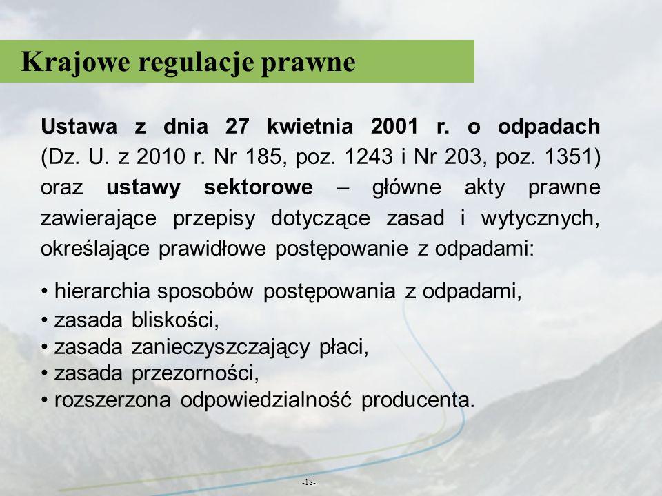 Krajowe regulacje prawne -18- Ustawa z dnia 27 kwietnia 2001 r. o odpadach (Dz. U. z 2010 r. Nr 185, poz. 1243 i Nr 203, poz. 1351) oraz ustawy sektor