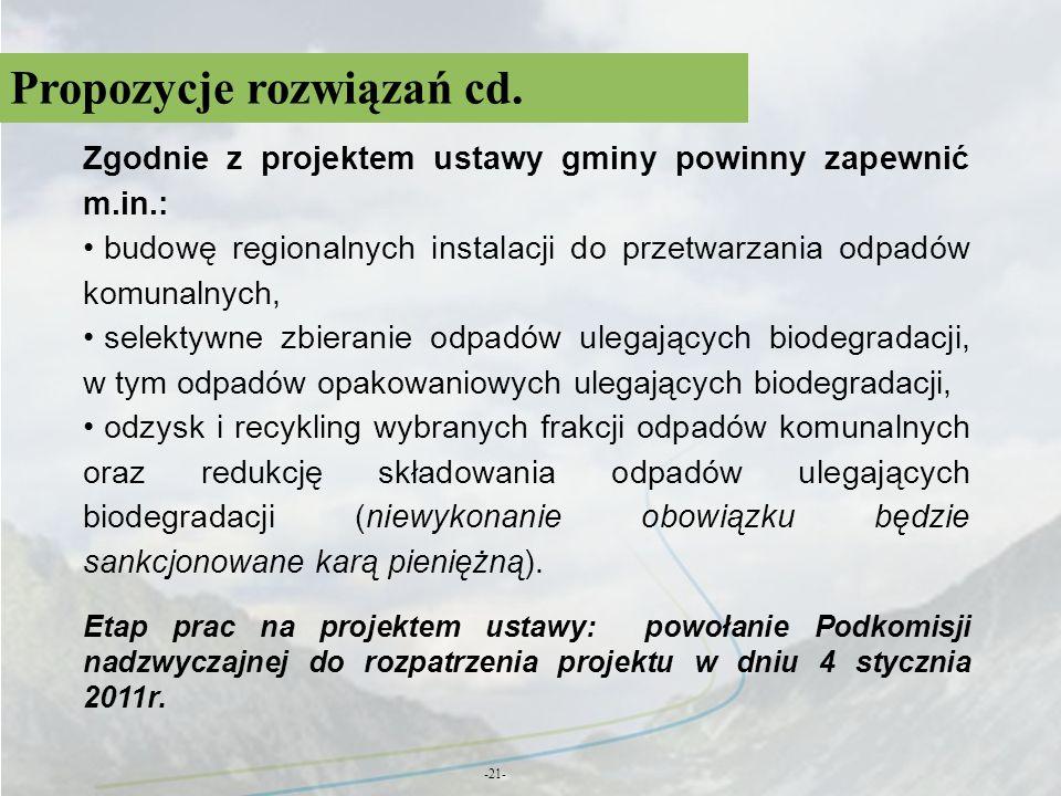 Propozycje rozwiązań cd. -21- Zgodnie z projektem ustawy gminy powinny zapewnić m.in.: budowę regionalnych instalacji do przetwarzania odpadów komunal