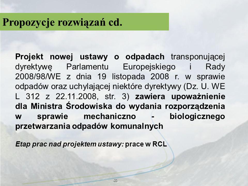 Propozycje rozwiązań cd. -22- Projekt nowej ustawy o odpadach transponującej dyrektywę Parlamentu Europejskiego i Rady 2008/98/WE z dnia 19 listopada