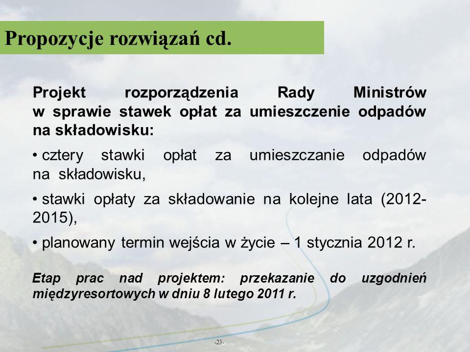 Propozycje rozwiązań cd. -23- Projekt rozporządzenia Rady Ministrów w sprawie stawek opłat za umieszczenie odpadów na składowisku: cztery stawki opłat