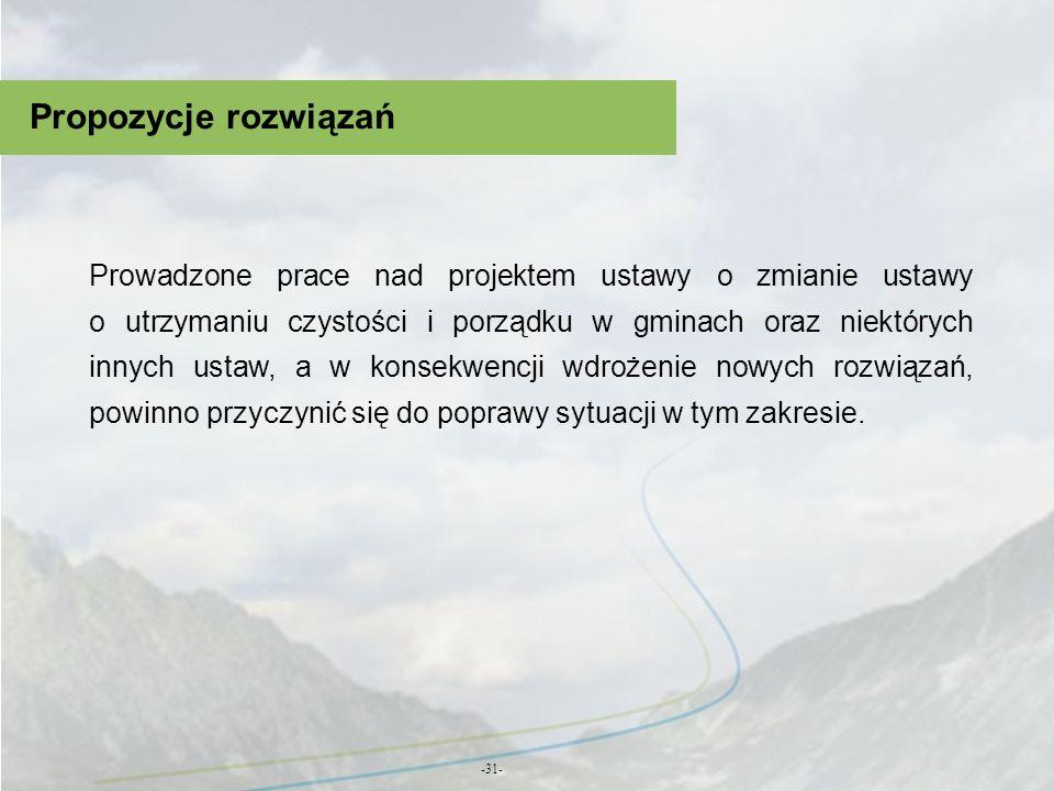 Propozycje rozwiązań -31- Prowadzone prace nad projektem ustawy o zmianie ustawy o utrzymaniu czystości i porządku w gminach oraz niektórych innych us