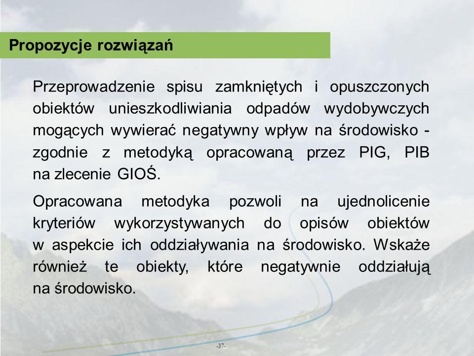 Propozycje rozwiązań -37- Przeprowadzenie spisu zamkniętych i opuszczonych obiektów unieszkodliwiania odpadów wydobywczych mogących wywierać negatywny