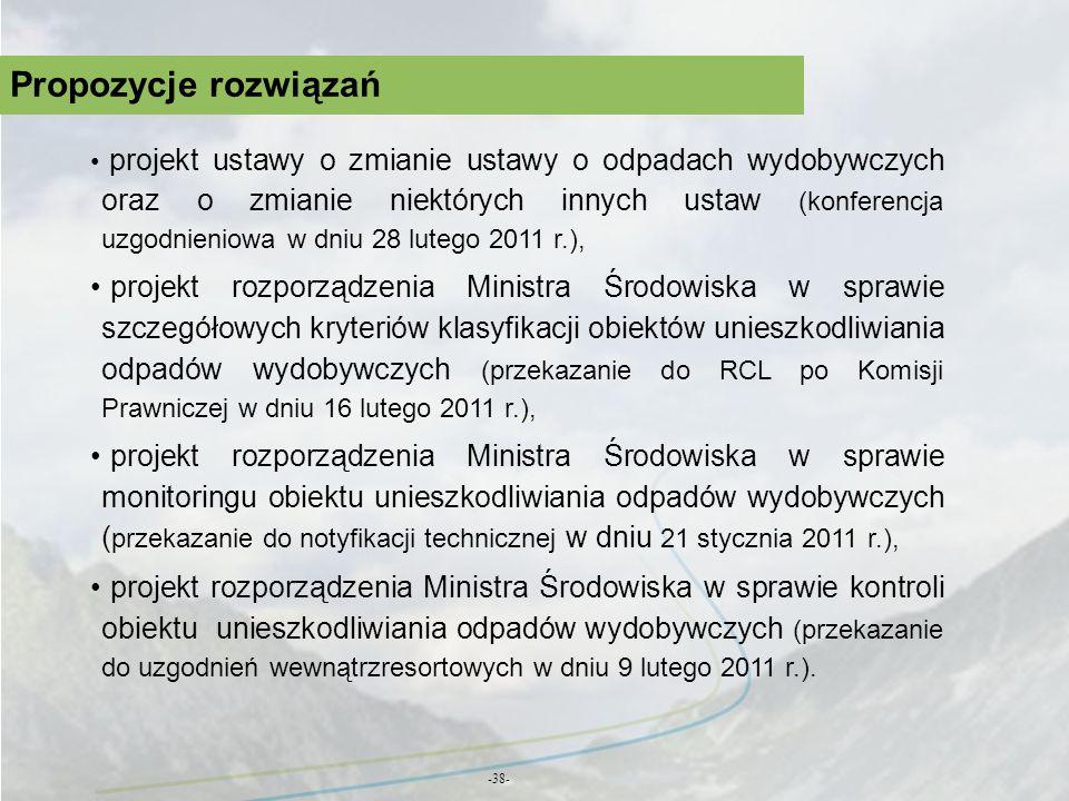 Propozycje rozwiązań -38- projekt ustawy o zmianie ustawy o odpadach wydobywczych oraz o zmianie niektórych innych ustaw (konferencja uzgodnieniowa w