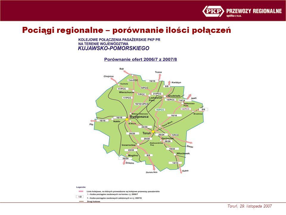 Toruń, 29. listopada 2007 Pociągi regionalne – porównanie ilości połączeń